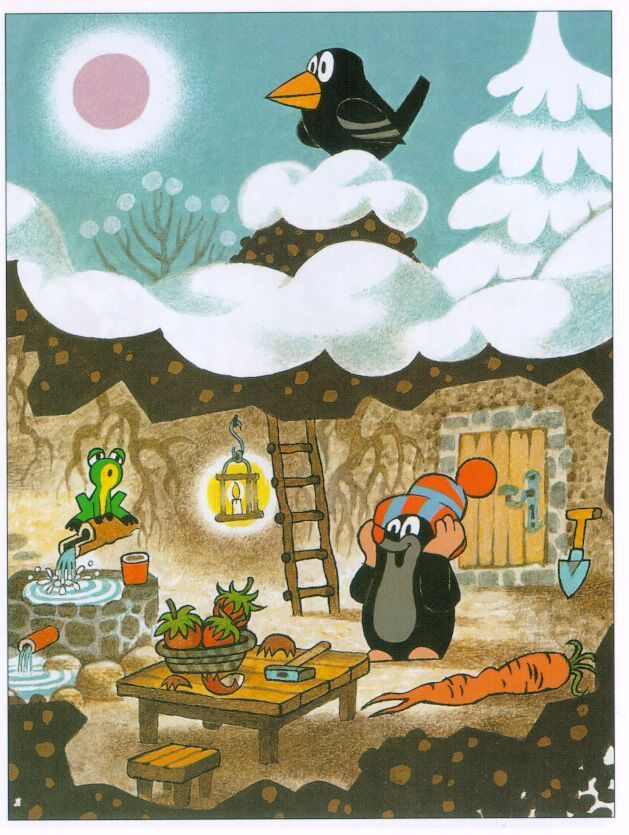 (2015-02) Muldvarpen er i sin hule sammen med frøen, kragen ligger i sneen ovenover