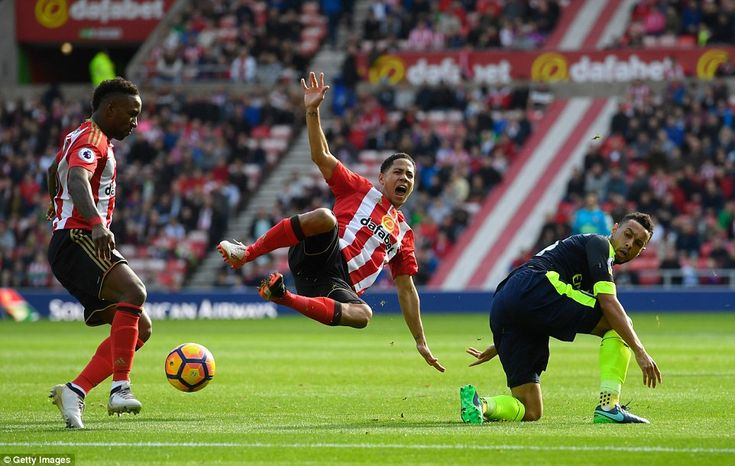 Sunderland midfielder Steven Pienaar (centre) is upended by a physical challenge from Coqu...