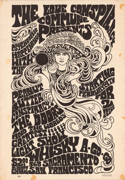Classic rock concert psychedelic poster - Concert at the Wisky A-Go-Go (The Doors; Peanut Butter Conspiracy)