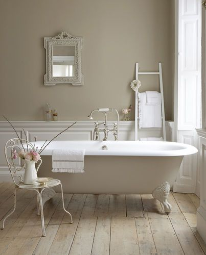 I love this bathroom.  Such calming colours.  Elegant and country at the same time. Little Greene Paint.