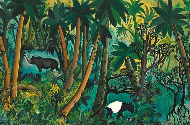 Hans Scherfig: Jungle motif with rhinoceros, tapirs and monkeys