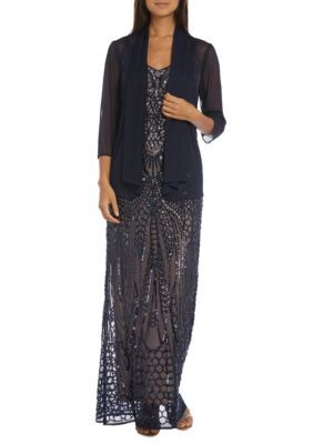 Rm Richards Women's Beaded Long Sheer Dress - Navy/Nude - 14 Average Or Medium Or Regular
