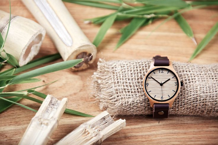 Brown leather strap with bamboo watch face