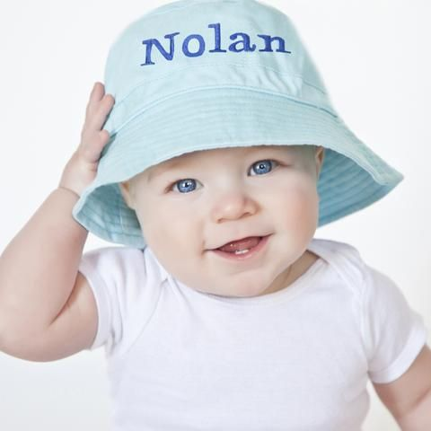Blue Personalized Bucket Sun Hat for Baby and Toddler BOYS - BLUE Embroidery