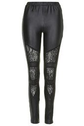 Leatherette and Lace Leggings from Topshop R720,00