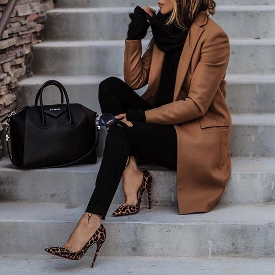 lolariostyle - black sweater, black jeans, camel coat and leopard pumps