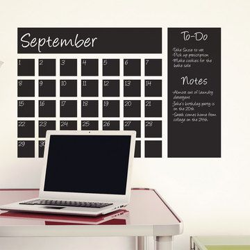 Chalkboard Calendar Decal Black