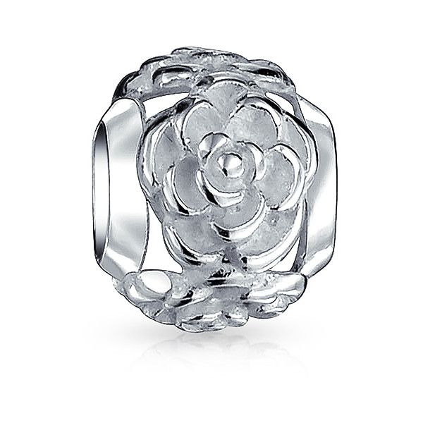 925 Sterling Silver Rose Flower Bead Pandora Chamilia Compatible ($13) ❤ liked on Polyvore featuring jewelry, pendants, theme jewelry, white, shiny charm, sterling silver rose charm, charm jewelry, sterling silver heart jewelry and rose jewelry