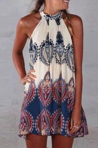 Cupshe Paisley Halter Neck Dress