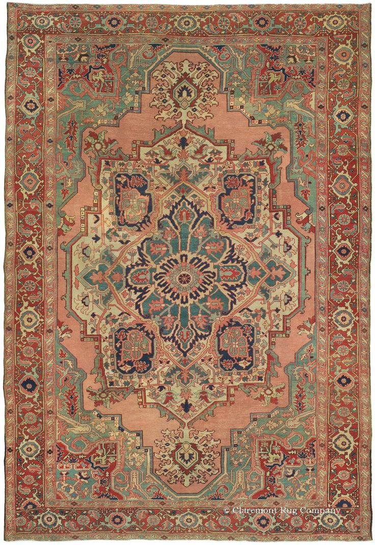 SERAPI, Northwest Persian, 8ft 0in x 11ft 9in, Circa 1850. This memorable antique Persian Serapi carpet is entirely devoted to the glorious pastel hues that are so rare and ardently prized in this 19th century village rug style. The whole reserve is given over to a luminous rose that is the foundation for this carpet's artistic program. Teal, celadon, apple green, seafoam and mint are everywhere, and their light atmosphere contributes to the soft patina from over 160 years of age.