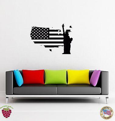 Wall Sticker USA Flag Statue of Liberty Freedom New York z1359