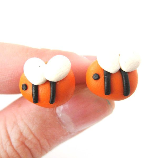 Small Bee Shaped Animal Polymer Clay Stud Earrings | DOTOLY