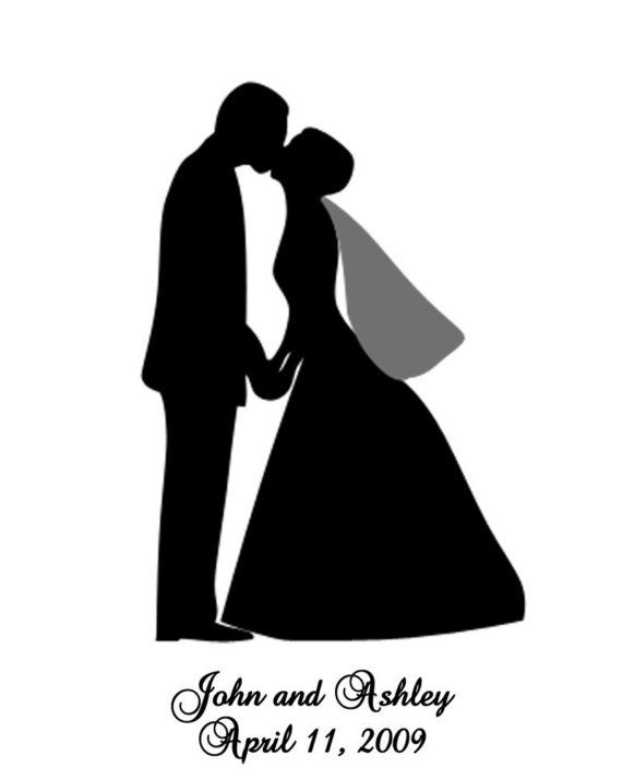 wedding+couple+silhouette | Custom Silhouette Portrait - Wedding Couple - JUST SEND ME YOUR PHOTO ...