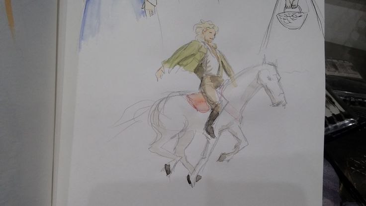 sketch and watercolour of a chevalier