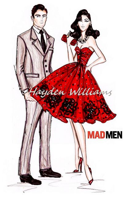 Male fashion designer sketches of dresses