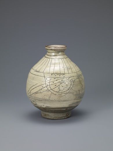 Bottle with Decoration of Birds Korean, Joseon dynasty (1392–1910); 15th century Buncheong with incised design; H. 8 3/4 in. (22 cm), Diam. 6 3/8 in. (16 cm) Leeum, Samsung Museum of Art, Seoul