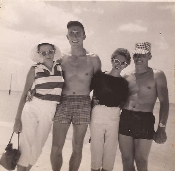 Group Photo on Miami Beach, 1955, Vintage Photograph, Black and White Snapshot, Beach Vacation Clothing, Friends and Family, Shirtless Men by BettywasaBombshell on Etsy