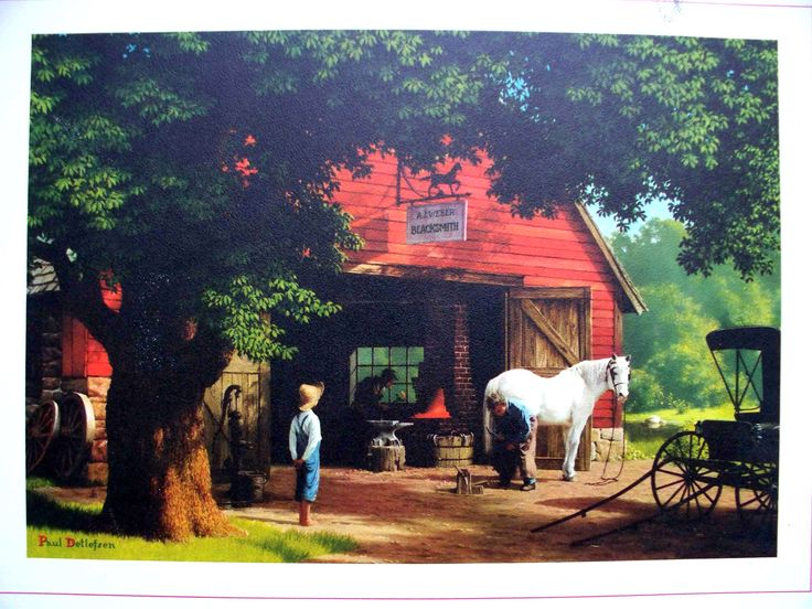 "It's not the best image, but this is one of my favorite paintings. ""Horse and Buggy Days,"" Paul Detlefsen"