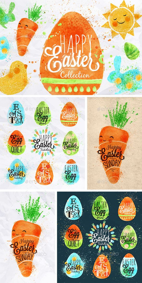 Easter Symbols, banner, bunny, carrot, celebrate, chalks, characters, collection, crayons, decoration, design, drawing, easter, egg, element, greeting, happy, holiday, icon, illustration, label, love, pastels, poster, rabbit, symbol, text, traditional, typography, vector, vintage