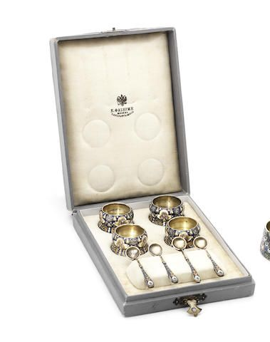 A set of Fabergé silver-gilt and shaded enamel saltsworkmaster Feodor Rückert, Moscow, 1908-1917, scratch inventory number 31900