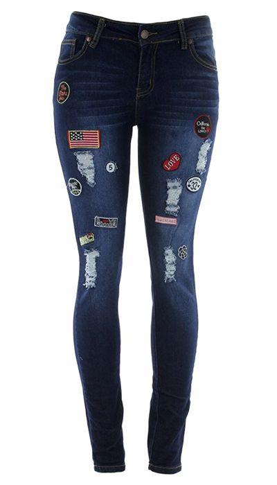 American Patched Jeans. https://www.estrolo.com/denim-options/?cat=women #Denim #Jeans #patchJeans #EstroloFashion