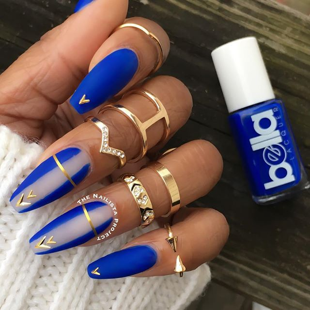 @bellalacquer in 'Birkin Bleu' topped w/ a matte topcoat and gold  embellishments - Best 25+ Coffin Nail Designs Ideas Only On Pinterest Holiday