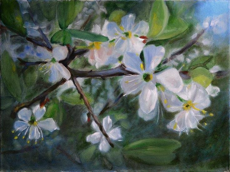 Peter Valve: Blossom of plum tree. Oil painting 40x30 cm