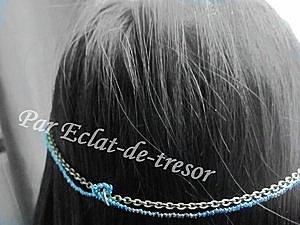 Headband Chaîne et perles Teal