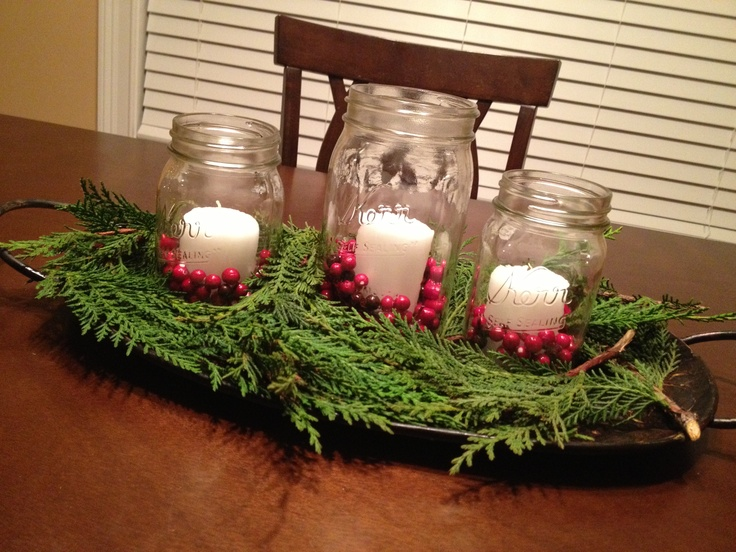 Cabin Christmas centerpiece