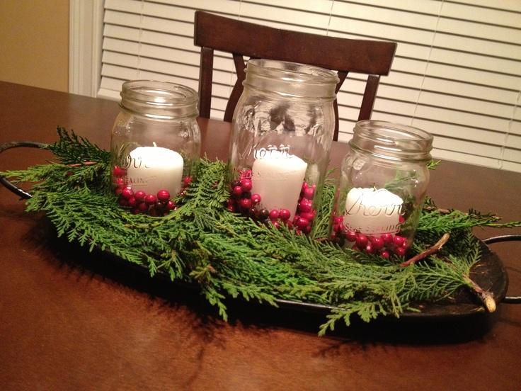 Cabin Christmas centerpiece