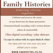 Tapestries offers you the gift of a lifetime - oral history interviews with family and friends. Celebrating your life today and preserving your stories for future generations. Tapestries also records community histories and makes radio and film documentaries. All projects can be customized to meet your need.