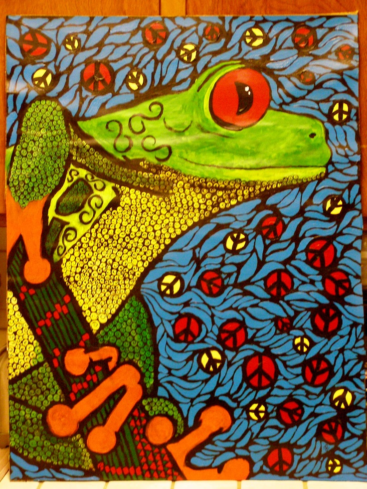 "Acrylic Painting By John M. Pride Jr  Name: Peace Frog   Size: 28x21.5""   Poster Board on Cardboard Got the idea from the song Peace Frog by The Doors."