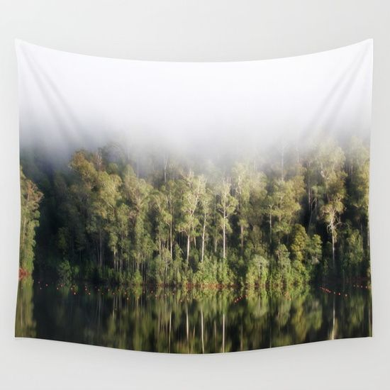 A tree lined lake on a foggy winter's Day Wall Tapestry