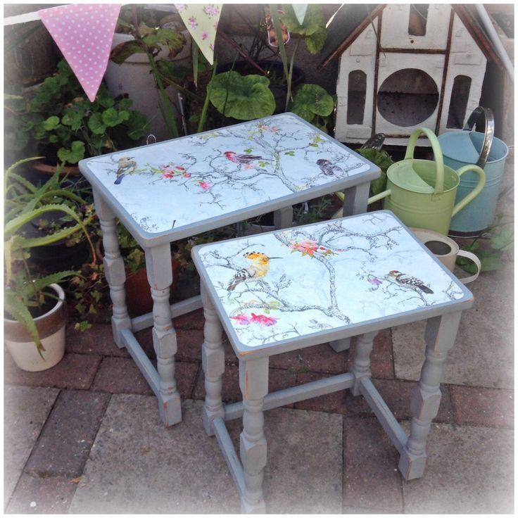 Nest of tables painted in chalk paint with Bird print decoupage