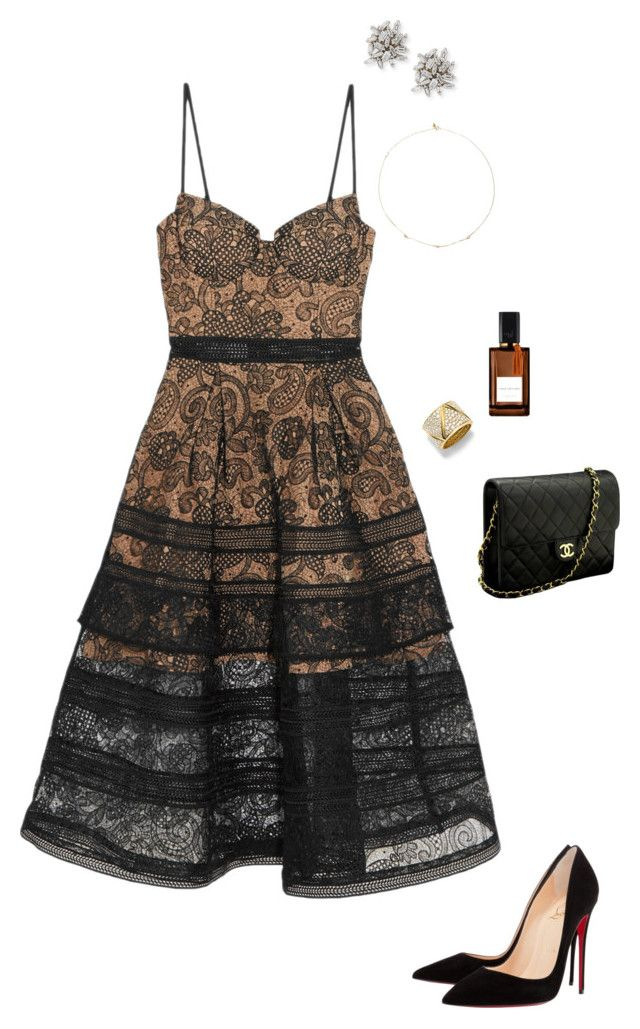 """Untitled #1921"" by nujixo on Polyvore featuring self-portrait, Diana Vreeland, Marina B, Suzanne Kalan, Loren Stewart, Chanel and Christian Louboutin"