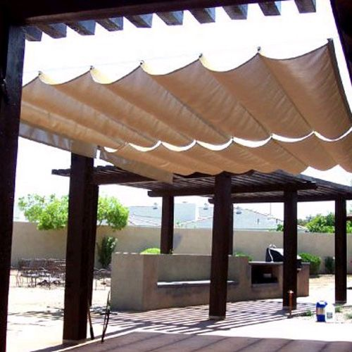 Backyard Awning Shade : Roman Sail Shade Wave Canopy Cover Retractable Outdoor Patio Awning 9