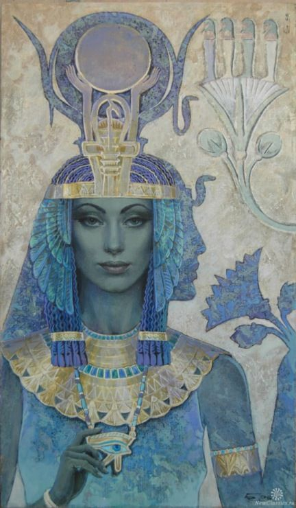 Qetesh is a goddess of Semetic origin. She was worshipped as a nature goddess, and a goddess of sacred ecstasy and sexual pleasure. Her cult became popular in Egypt during the New Kingdom. Qetesh's sexuality led to a natural association with the Egyptian Hathor. On her head is the cresent moon and she  holds In her right hand  lotus flowers . Gallery.ru / Фото #11 - Николай Бурдыкин - anphilos