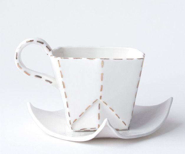 Porcelanowa filiżanka w złote przerywane linie - PangziCeramics - Boże Narodzenie
