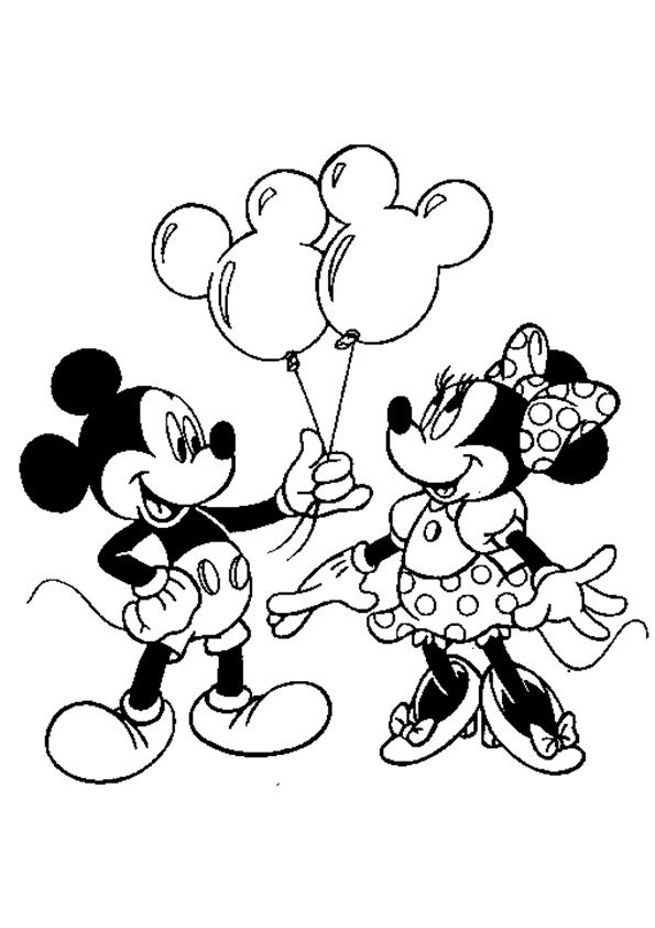 - The-Mickey-Mouse-Giving-Balloons Mickey Mouse Coloring Pages, Minnie Mouse  Drawing, Minnie Mouse Coloring Pages
