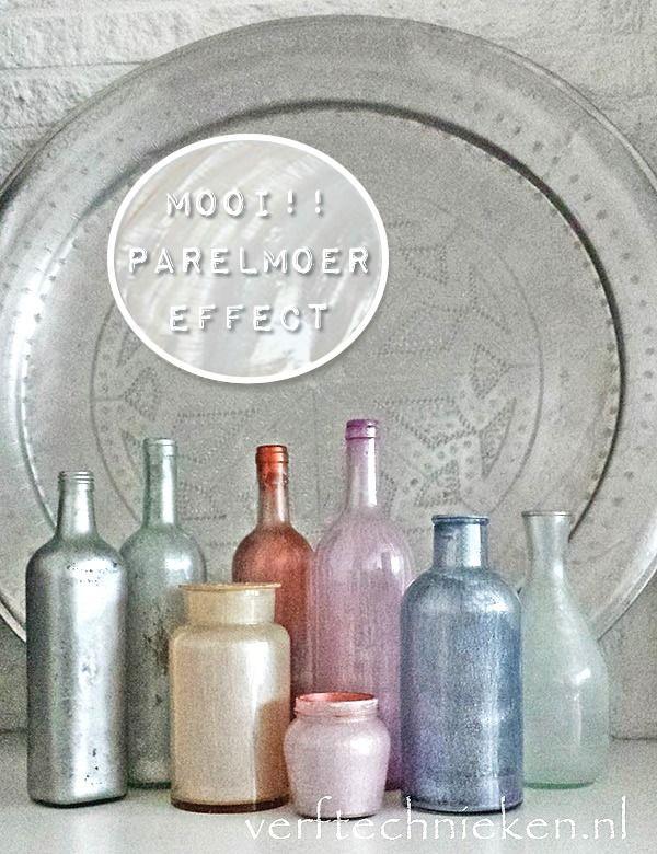 Glas met parelmoer effect via Verftechnieken.nl