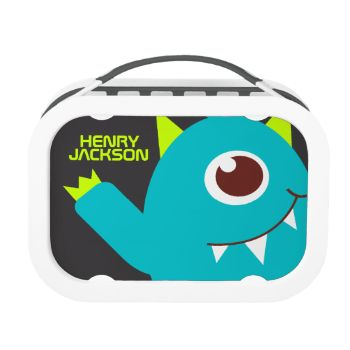 Fun modern graphic alien monster face lunch box perfect for a alien enthusiast, and out of this world boys. Customize with your kids's full name on both sides. Currently reads Henry Jackson. Illustrated and designed exclusively by Sarah Trett. www.sarahtrett.com