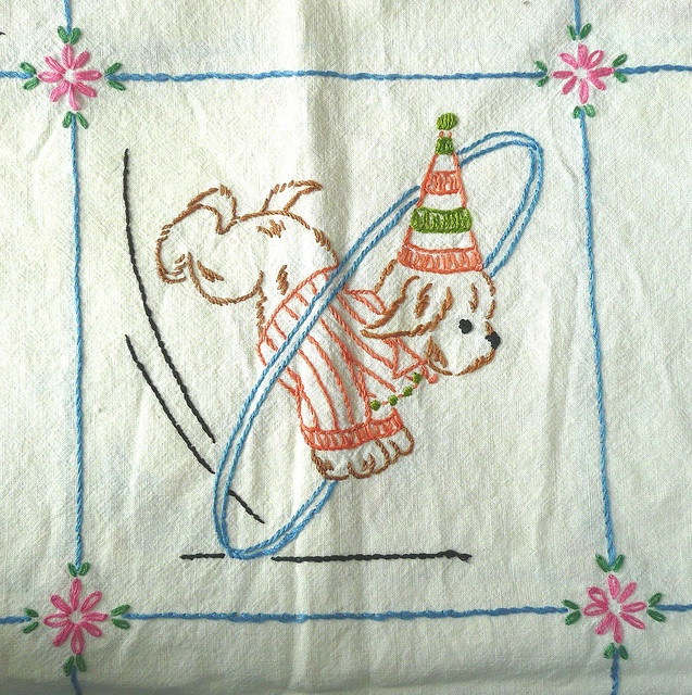from a vintage panel.  love it.  Circus Dog Embroidery by IamSusie, via Flickr