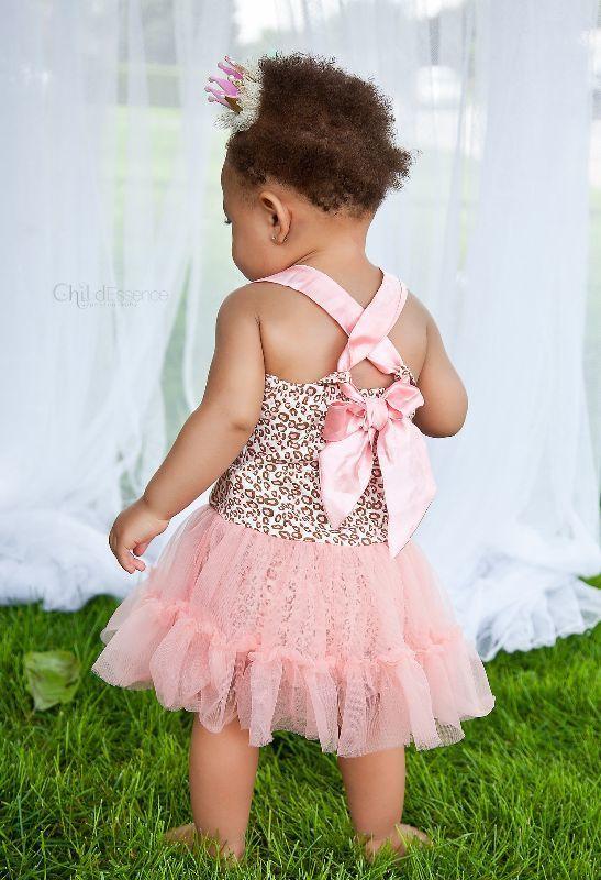 Jurk ONE luipaard roze (zonder haarclip kroon)
