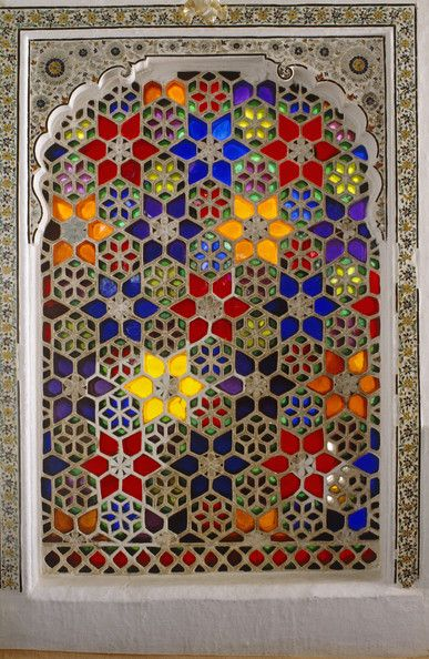 Moroccan decorative stained glass window