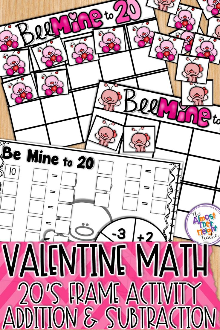 Addition and subtraction practice with this valentine themed twenties frame math center.  Spin the spinner to find out how many lovebug counters to add or subtract as you race to fill your twenties frame.  Use the counters to see the number sentence before recording it on your sheet.  #add #subtraction #valentine #winter #wintermath #valentinemathcenter #tensframe #mathcenteractivity #february #februaryactivities #teacherspayteachers