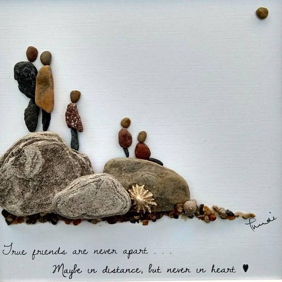 Pebble art picture, pebble art, mother's day gift family pebble art, dog lover gift, pebble family gift