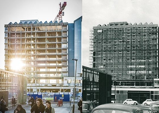 It is almost a case of spot the difference with these two views of the DMU campus taken 50 years apart!