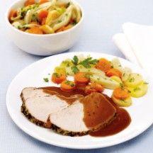 Gekruid varkensbraadstuk met aardappel-groentenschotel - 10 ProPoints