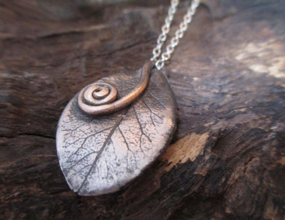 Bay Leaf Texture Pendant with Bronze Spiral by KemeJewellery