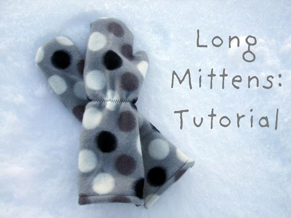 Long Fleece Mittens Tutorial